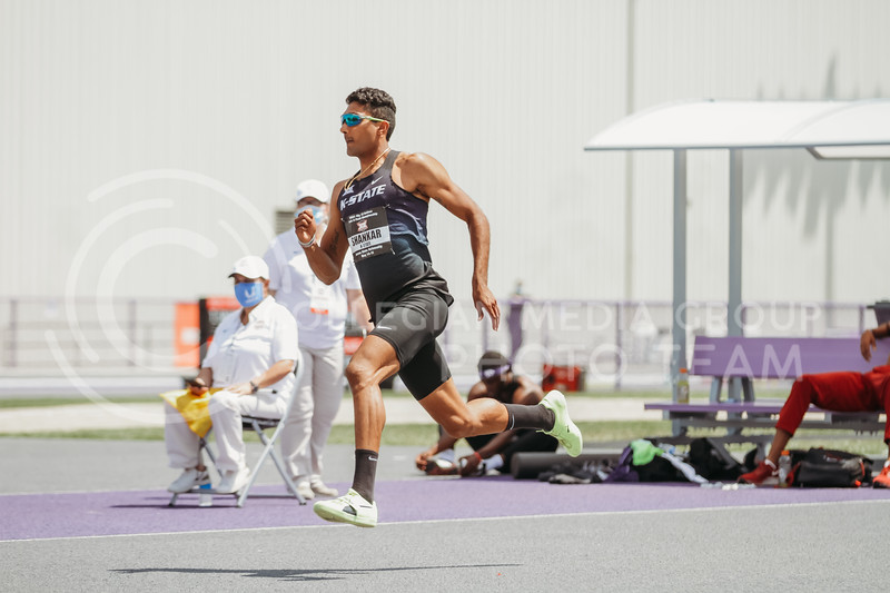 Senior Tejaswin Shankar runs toward the high jump mat during the second day of the Big 12 Track and Field Championships at R.V Christian Track. (Sophie Osborn | Collegian Media Group)