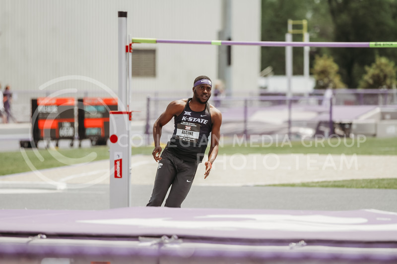 Kyle Alcine approaches the high jump bar during the second day of the Big 12 Track and Field Championships at R.V Christian Track. (Sophie Osborn | Collegian Media Group)