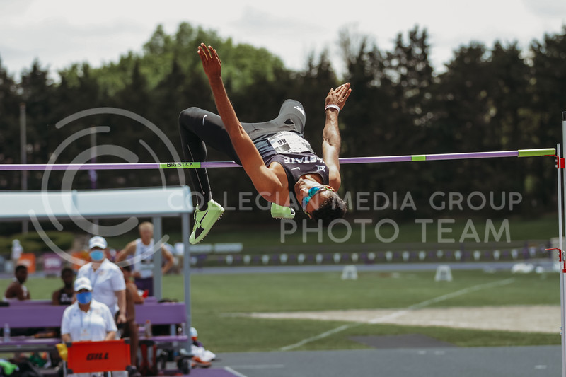 Senior Tejaswin Shankar clears the high jump bar during the second day of the Big 12 Track and Field Championships at R.V Christian Track. (Sophie Osborn | Collegian Media Group)