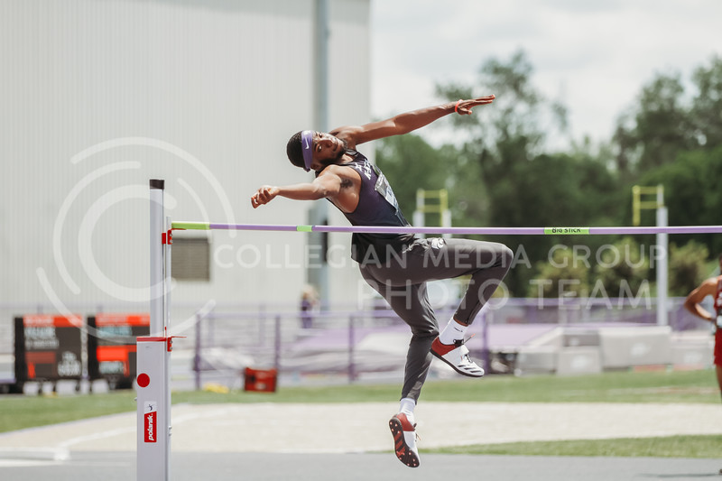 Kyle Alcine jumps during the second day of the Big 12 Track and Field Championships at R.V Christian Track. (Sophie Osborn | Collegian Media Group)