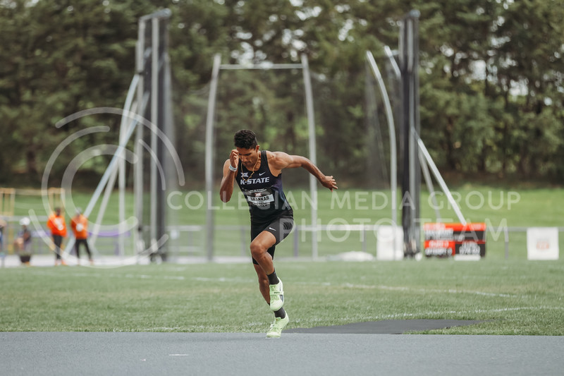 Senior Tejaswin Shankar prepares to run towards the high jump mat during the second day of the Big 12 Track and Field Championships at R.V Christian Track. (Sophie Osborn | Collegian Media Group)
