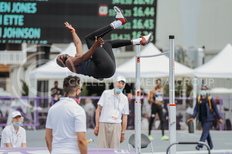 Senior Kyle Alcine clears the high jump bar during the second day of the Big 12 Track and Field Championships at R.V Christian Track. (Sophie Osborn | Collegian Media Group)