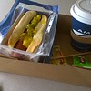 LUNCH.  HEBREW KOSHER HOT DOGS.  NO COMPLAINTS ABOUT FOOD ON AMTRAK.