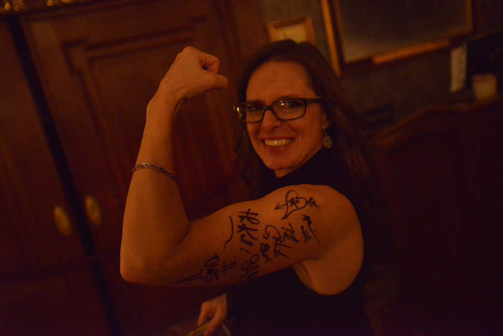 . Gina shows off autographs. Big Bad Voodoo Daddy played at the Stanley Hotel in Estes Park on Friday, March 1 and Saturday, March 2, 2019.