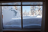 View into the back yard. The snow drift is half way up the window.<br /> <br /> Notice the frost on the window. Its 39 degrees inside, with no electricity for the heater to operate.