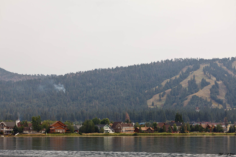 That is all the news from Big Bear Lake!<br /> <br /> A helicopter showed up a while later to work the small fire here. It was dead out the next morning.