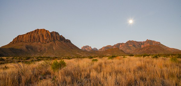 Glen Springs and Nugget Mountain at sunrise with the supermoon setting.