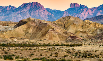 Badlands, Big Bend NP at sunset.