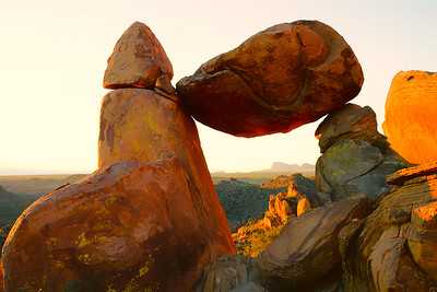 Balanced Rock, Big Bend NP, Texas at sunrise.