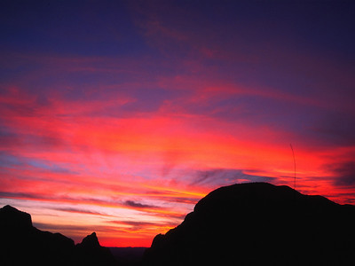 Sunset through the Window, 10 minutes later and the whole sky turned red.  Chisos Basin, Big Bend National Park