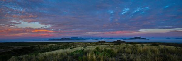 Tuesday morning sunrise; ground fog and colorful sky