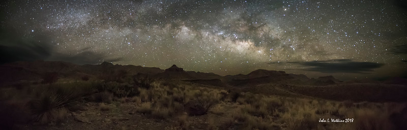 Milky Way Arching Between Clouds At Big Bend