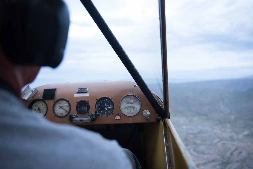 Early morning flight over Big Bend National Park in a Piper Cub.