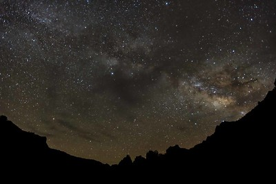 Lost Mine Trailhead and the Milky Way. Dark areas are moving clouds.