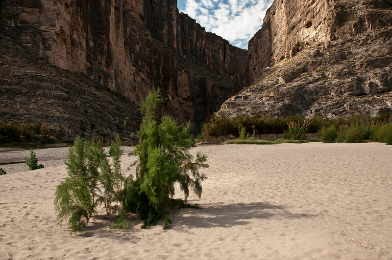 Rio Grande River sand bar at Santa Elena Canyon exit