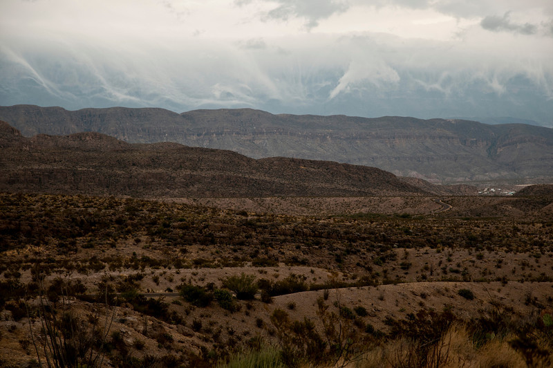 Storm clouds over the Sierra del Carmens, approaching Boquillas, Mexico