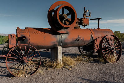 Old steam engine to pump water for crops growing in the desert. Circa late 1800s. Located at the Castolon Park Ranger Station and General Store