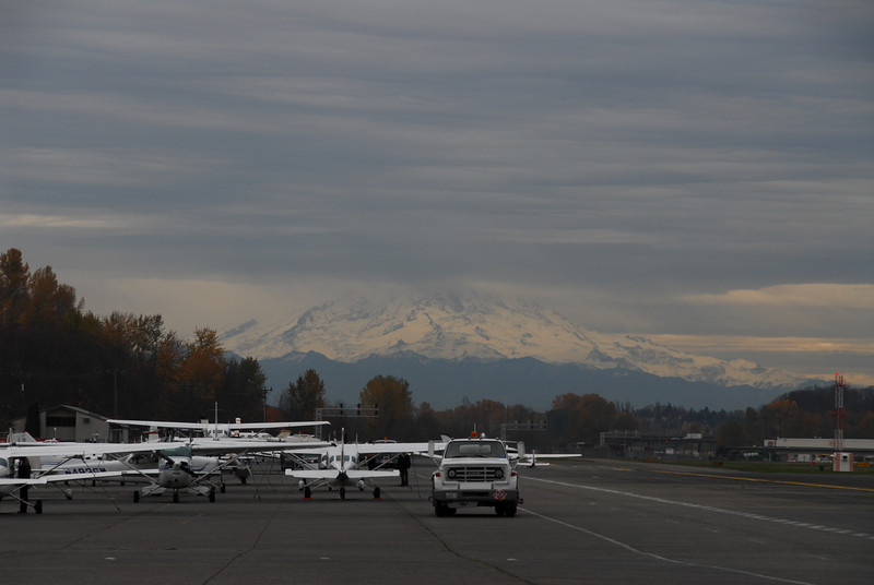 Mount Rainier from the ramp at Boeing Field.