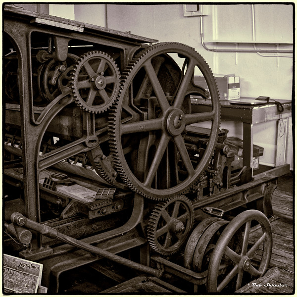 Old Printing Press in Monochrome