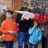 Big Head Fred's Maple Syrup in Leominster was boiling syrup at their sugarhouse for the first time this year on Sunday, March 3, 2019. Sam Lazuka, 11, Ava Lazuka, 8, thier dad Blair and aunt Laura Williams listen to Norman Ducharme as he talks about how they make the maple syrup. SENTINEL & ENTERPRISE/JOHN LOVE