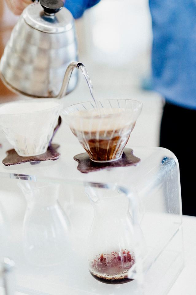 Kona coffee is prepared in the tasting room at Hula Daddy Kona Coffee.