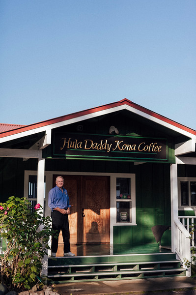 Farm owner Lee Paterson outside his Hula Daddy Kona Coffee farm in Holualoa, on the Big Island of Hawaii. Paterson has won numerous awards for his coffee.