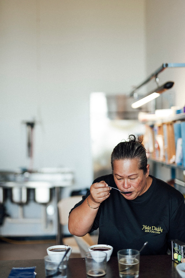 """Master roaster and licensed Q grader Laura Ross """"cups"""" every batch of coffee at Hula Daddy Kona Coffee."""