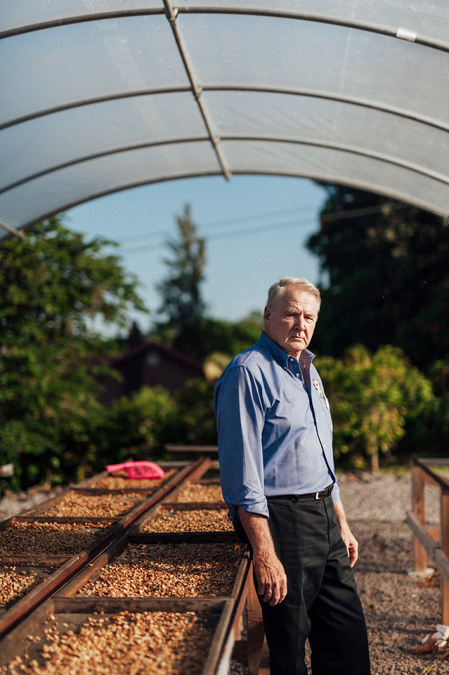 Hula Daddy owner Lee Paterson in the drying tents at his Holualoa farm.