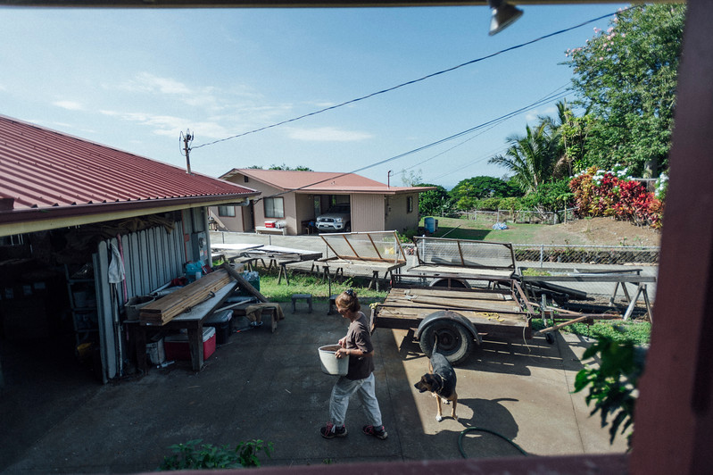 Lorie Obra works on her coffee farm outside her home in the Ka'u district of the Big Island of Hawai'i. Obra founded Rusty's Hawaiian Coffee company with her late husband.