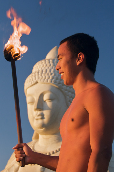"""Lighting of the torches"" ceremony concludes at Buddha Point (Photo credit: Jerry Leggett, ©2011, All rights reserved)"