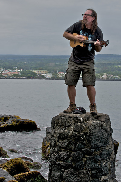 Jerry playing the uke on Hilo Bay for Sea Turtles and other living things. (Photo credit: Patsy Ferrell, ©2009, All rights reserved)