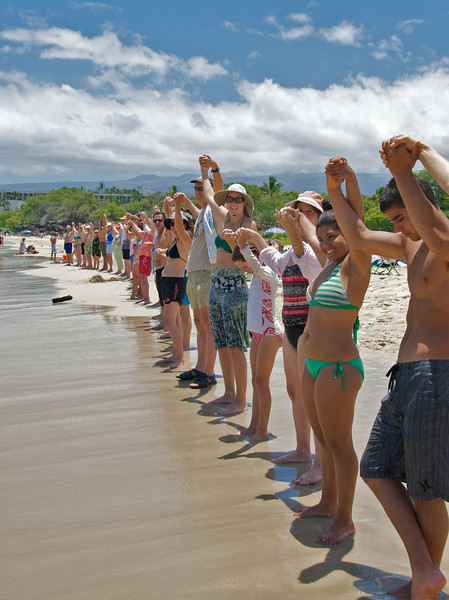 """""""Hands Across The Sand"""" event took place at Hapuna Beach to show solidarity with those suffering in the Gulf due to the BP oil spill (Photo credit: Jerry Leggett, ©2010, All rights reserved)"""