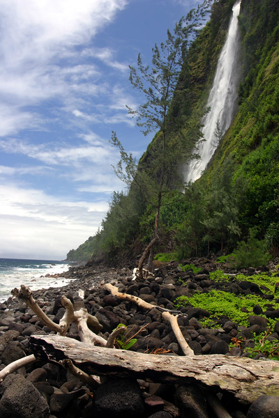 Kaluahine Falls on the Eastern side of Waipio Beach