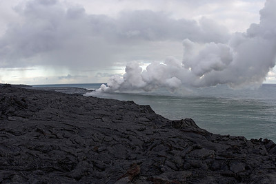 Volcano Park close to Hilo on the eastside...spot where the lava flows into the ocean