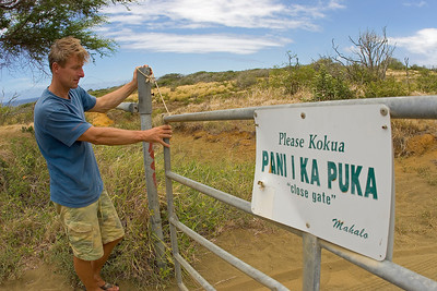 Coming back from South Point´s Ka`alu`alu Bay...make sure you close the gates again