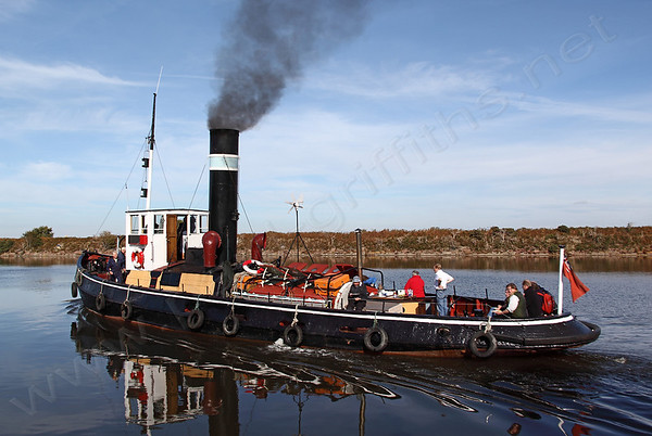 The 1913 steam Tug Kerne on the Ship Canal as part of her trip from Acton Bridge on the Weaver