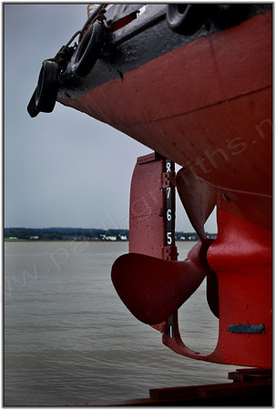 Looking past the Kerne as she is winched up the slipway for repairs