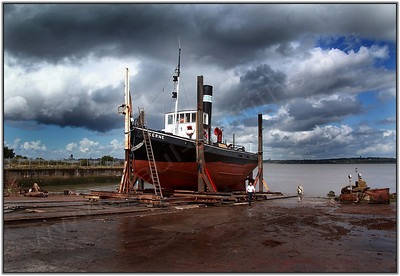 The Kerne moving up the slipway from the Mersey River
