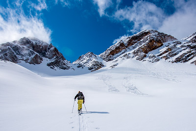 Kirsten Schiel skinning to the Sunrise Couloir