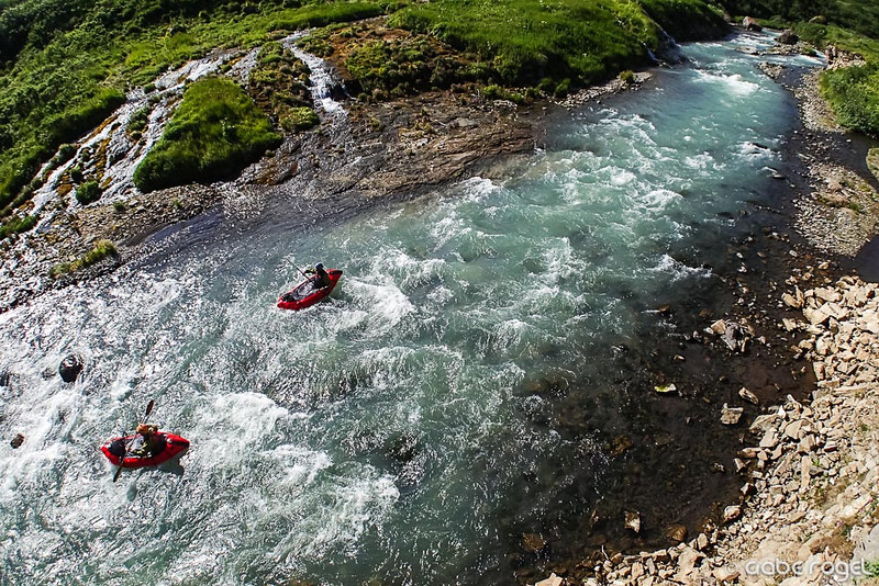 Dan Oberlatz & Chris Solomon packrafting the Hidden Creek Rapids - Aniakchak River, Alaska