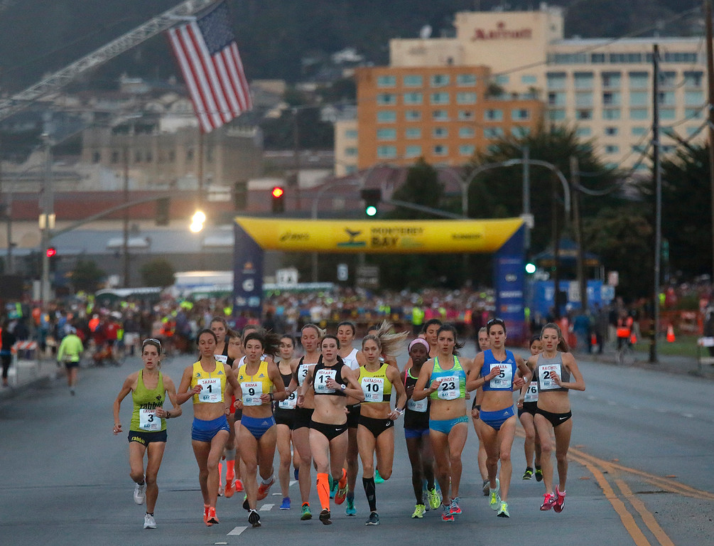 . Female take off at the start of the Monterey Bay Half Marathon on Del Monte Boulevard in Monterey, Calif. on Sunday November 12, 2017. (David Royal/Herald Correspondent)