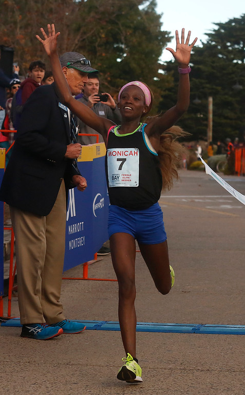 . Monicah Ngige of Kenya wins the Monterey Bay Half Marathon in Monterey, Calif. on Sunday November 12, 2017. (David Royal/Herald Correspondent)