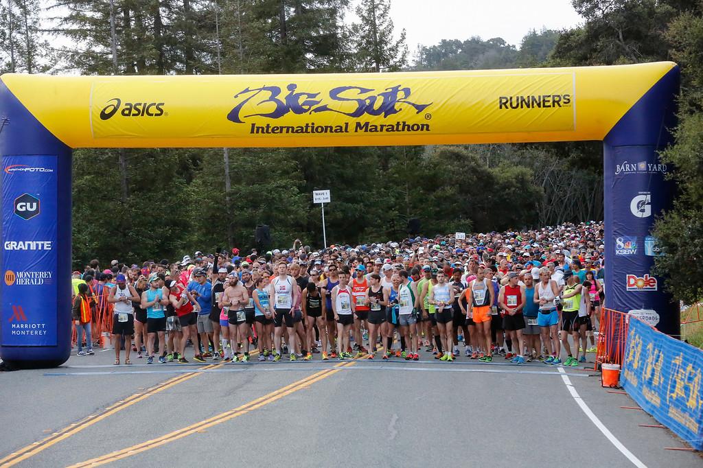 . Marathon runners at starting line of the 2016 Big Sur International Marathon on Sunday, April 24, 2016 in Big Sur, Calif. (Vernon McKnight/Herald Correspondent)