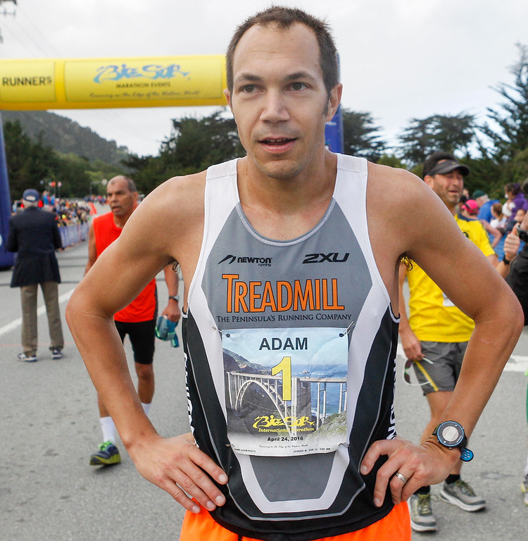 . Adam Roach of Pebble Beach catches his breath after winning the 2016 Big Sur International Marathon with a time of 2:35:36 on Sunday, April 24, 2016 in Carmel, Calif. (Vernon McKnight/Herald Correspondent)