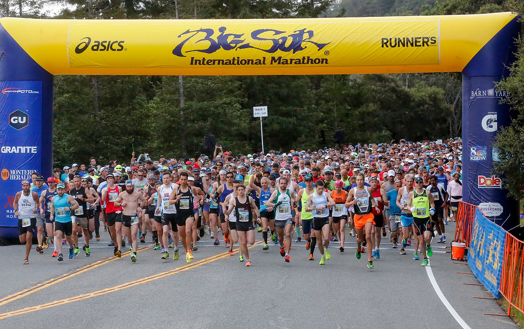 . Marathon runners take off from the starting line of the 2016 Big Sur International Marathon on Sunday, April 24, 2016 in Big Sur, Calif. (Vernon McKnight/Herald Correspondent)
