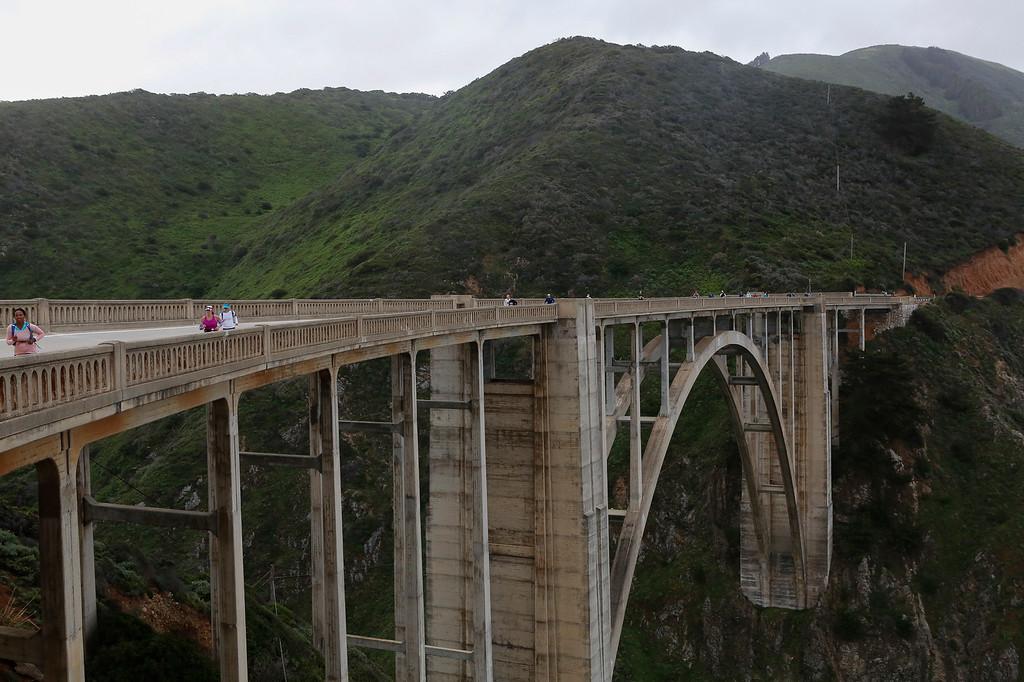 . Bixby Bridge is pictured as marathon runners run across during the 2016 Big Sur International Marathon on Sunday, April 24, 2016 in Big Sur, Calif. (Vernon McKnight/Herald Correspondent)