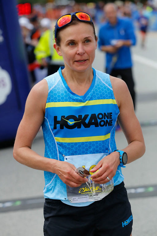 . Magdalena Boulet of Oakland catches hes breath after winning the 2016 Big Sur International Marathon with a time of 3:01:27 on Sunday, April 24, 2016 in Carmel, Calif. (Vernon McKnight/Herald Correspondent)