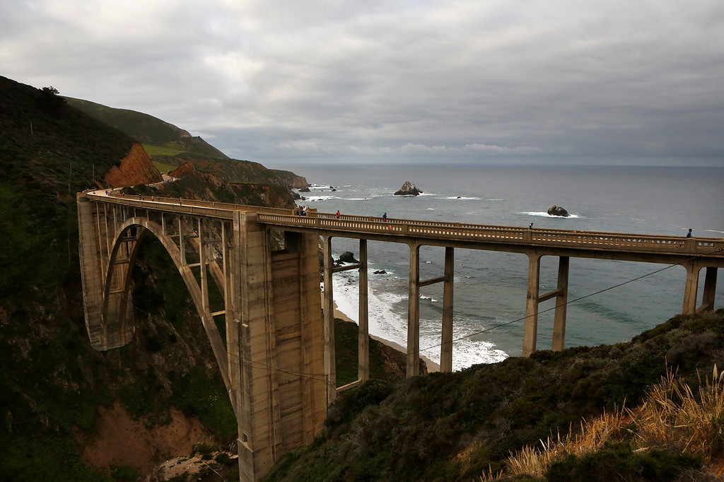 . Runners cross Bixby Bridge during the Big Sur Marathon in Big Sur, Calif. on Sunday April 29, 2018. (David Royal/ Herald Correspondent)