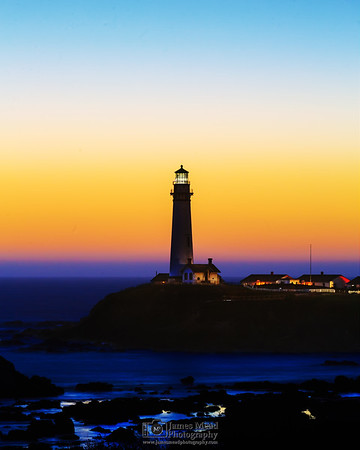 """""""Last Kiss of Day,"""" Dusk over Pigeon Point Lighthouse, Pigeon Point, California"""