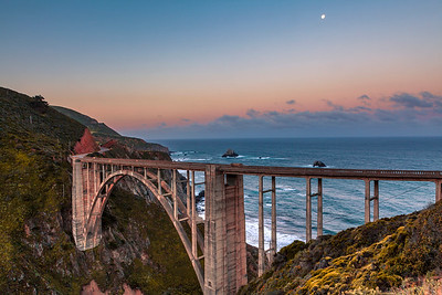 Setting Moon at Bixby Bridge